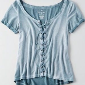 3/$22🤎American Eagle Lace up Shirt